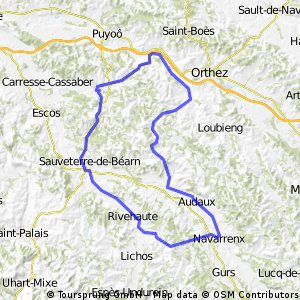 Berenx to Navarrenx & back, circular route.