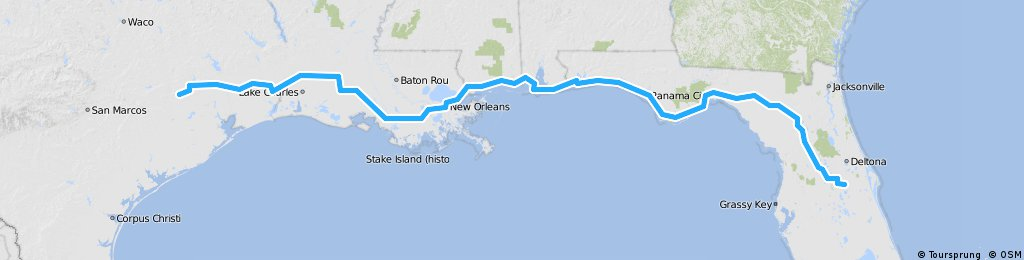Orlando To Houston via New Orleans | Bikemap - Your bike routes
