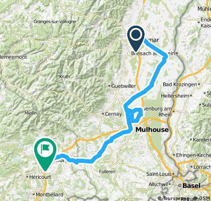 Colmar - Belfort bike route