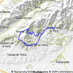 Jarandilla-Piornal subiendo por Cuacos y Garganta la Olla y vuelta bajando Pasarón y Jaraiz.