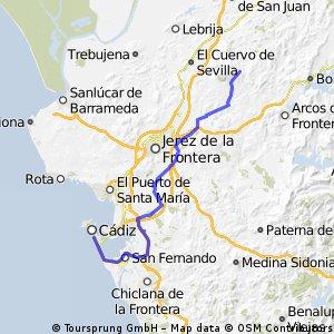 Cádiz-Villalatas-Estella-TorreMelgarejo-Gibalbín - 73,1 km
