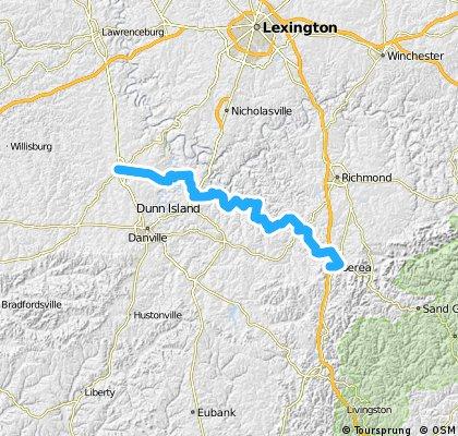 C2C Day 74: Harrodsburg to Berea, KY