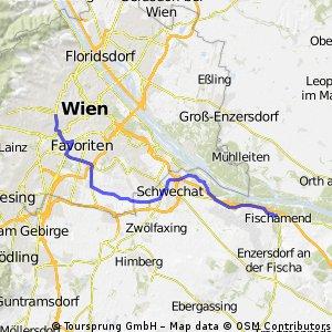 radroute-> wien, westbahnhof - Fischamend