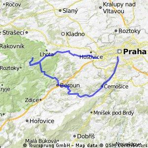 Praha Zličín - Zbečno - Nižbor - Beroun - Černošice - Praha 5