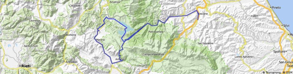villa petto - montorio - passo capannelle - bivio pizzoli - montereale - aringo - poggio cancelli - montorio - villa petto