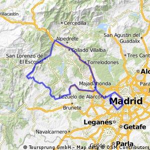 Madrid - Majadahonda - Villanueva de la Cañada - Quijorna - Navalagamella - Fresnedillas de la Oliva - Robledo de Chavela - El Escorial - Guadarrama - Villalba - Las Rozas - Majadahonda - Madrid