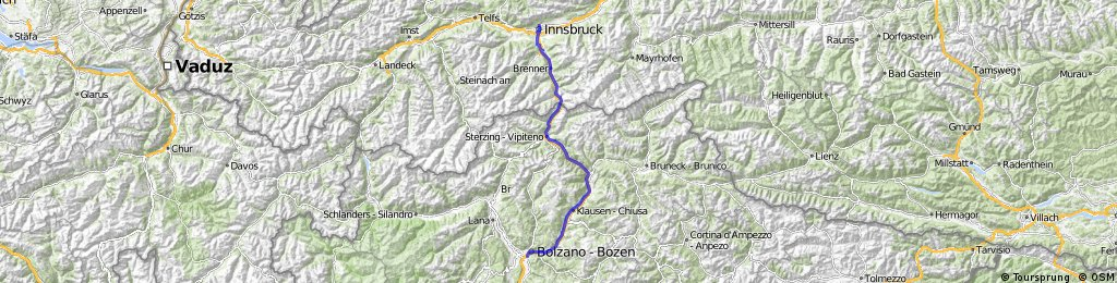 Innsbruck-Bolzano přes Brenner