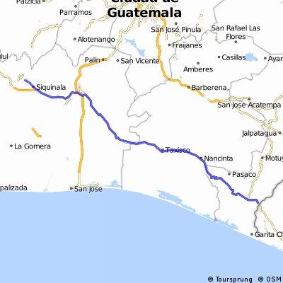 De Finca Pantaleon a frontera El Salvador