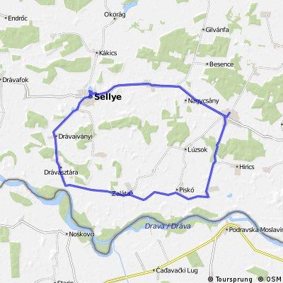 Sellye - dél - kelet - Vajszó - Sellye