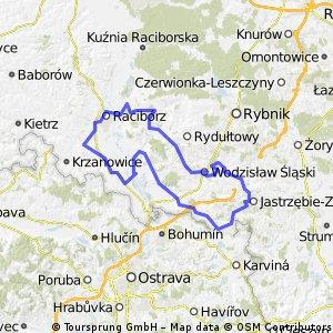 przez pagórki okolic Wodzisławia, Jastrzębia i Raciborza