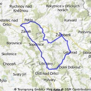 Žamberk->Letohrad->Ústí n. O.->Vamberk->Česká rybná->Žamberk
