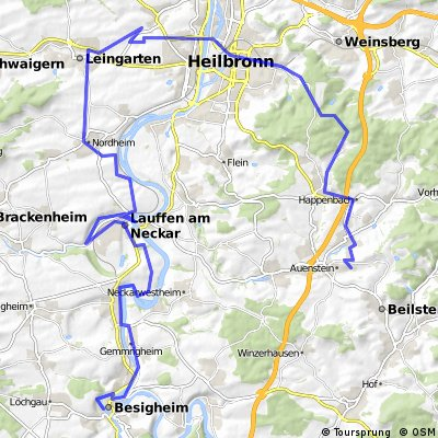Von Ilsfeld über den nördlichen Kreis Heilbronn nach Besigheim