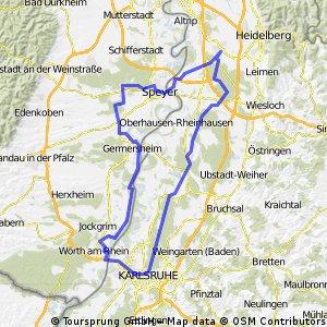 Rundkurs Schwetzingen - Karlsruhe - Schwetzingen CLONED FROM ROUTE 205346 CLONED FROM ROUTE 968509