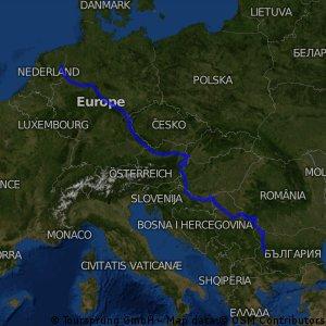 route tot nu toe Nederland - Sofia