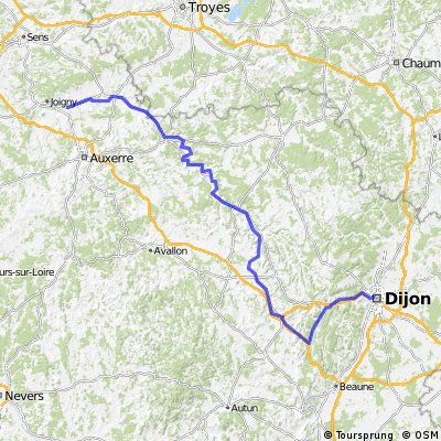Dijon-Migennes via Canal de Bourgogne