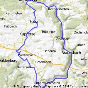 Untermünkeim - Kochertal - Waldenburg Rennrad