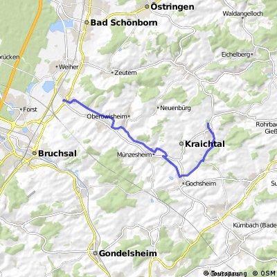 Ubstadt (Kraichtal)  zum Wasserscholss Menzingen am Kraichbach entlang