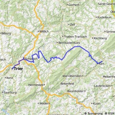 Trier to Kirn - Mosel Hunsrueck Nahe bike route