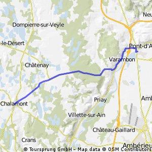 chalamont - pont d'ain 17km