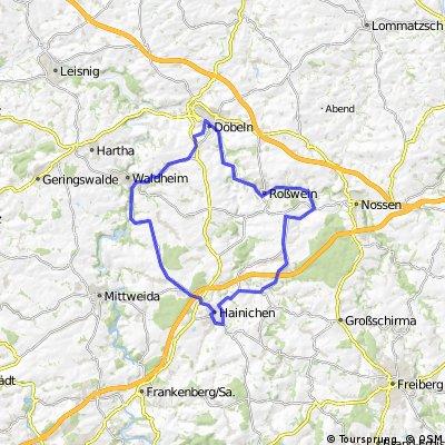 Döbeln-Waldheim-Kriebetal-Ehrenberg-Rossau-Hainichen-Marbach-Gleisberg-Roßwein-Döbeln