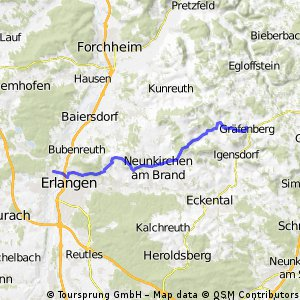 Km Cycling Route In Erlangen Mainly Paved Bikemap Your - Erlangen map