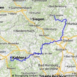 Koblenz -Biedenkopf auf dem Lahnradweg