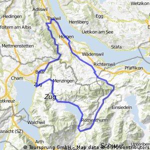Thalwil - Schindellegi - Ägerisee - Zug - Sihltal - Gattikon