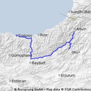 route trabzon-bijna artvin
