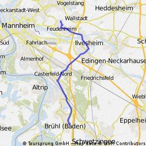 von Mannheim-Feudenheim nach Brühl