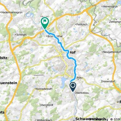 ADFC-Hof: Saaleradweg von Ortsmitte Oberkotzau bis zur Autobahnbrücke bei Saalenstein