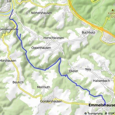 Wanderweg von Emmelshausen durch das Ehrbachtal und die Ehrbachklamm nach Brodenbach