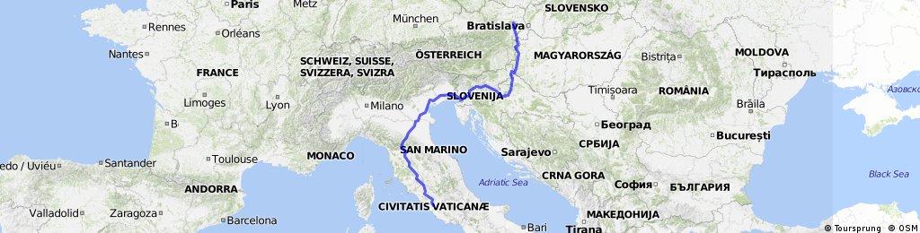 Vienna-Zagreb-Ljubljana-Trieste-Florence-Bologna-Roma ...