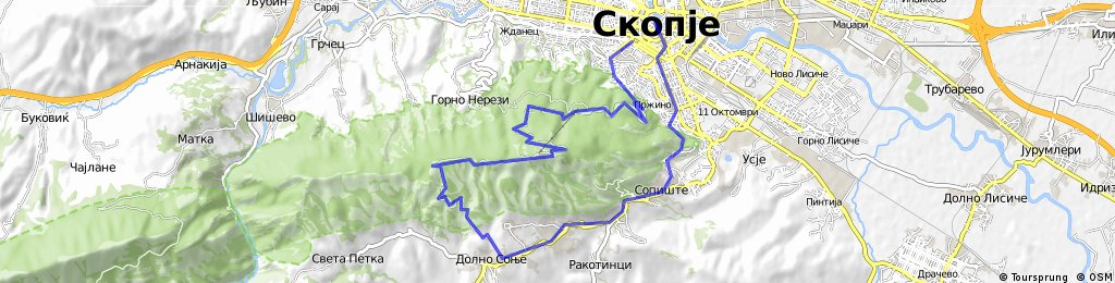 Skopje, Sonje, Vrv na vodno, Skopje | Bikemap - Your bike routes