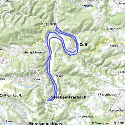 46 km entlang der Mosel von Bhf Bully gestartet über zell nach Trabentrabach dort überdie Brücke auf der anderen Moselseite wieder zürück bis kurz vor Alf danac
