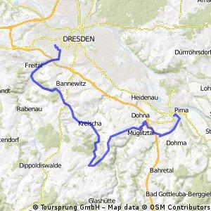 Dresden - Freital - Possendorf - Kreischa - Reinhardtsgrimma - Maxen - Falkenhain - Pirna