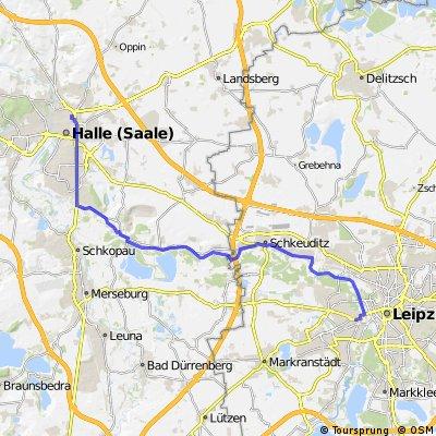 leipzig-halle am Elsterradweg (zumindest teilweise, sodass man mit dem Rennrad fahren kann)
