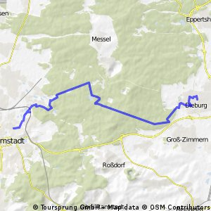 DA -> Dieburg, Alternative Radfahrstrecke (komplett Wald)