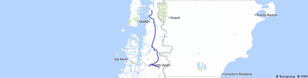 Chacabuco-Aysen über Coihaique  nach Chaiten