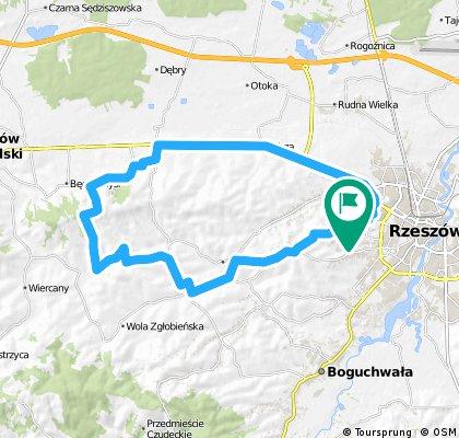 Rzeszów - Zgłobień - Dąbrowa i krajówką z Trzciany