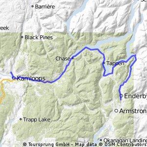 Kamloops to Enderby via Sicamous
