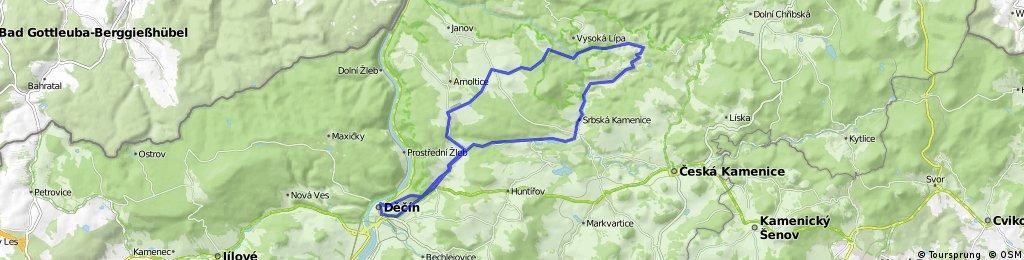 trasa Děčín - Ludvíkovi - Růžová - Dolský Mlýn - Jetřichovice - Srbská Kamenice - Ludvíkovice - Děčín