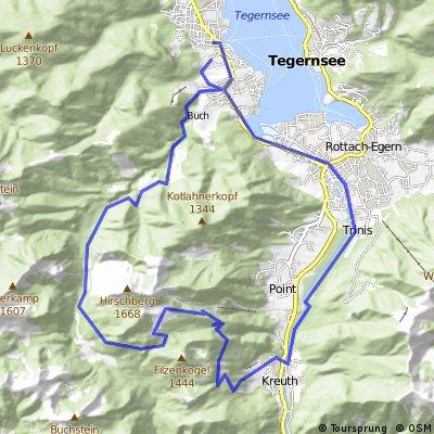 Bad Wiessee-Bauer i.d.Au-Schwarzentenn Alm-Hirschberg-Trail-Kreuth-Bad Wiessee