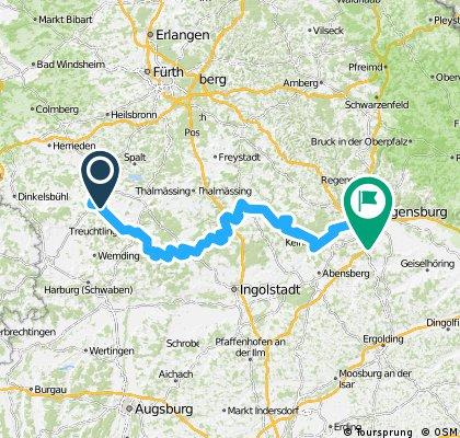 Altmühltal-Panoramaweg Gunzenhausen bis Kehlheim und weiter bis Regensburg