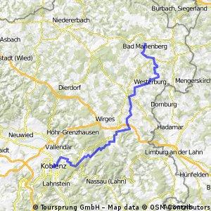 Koblenz über Lahnquelle durchs Lahntal 1. Tag