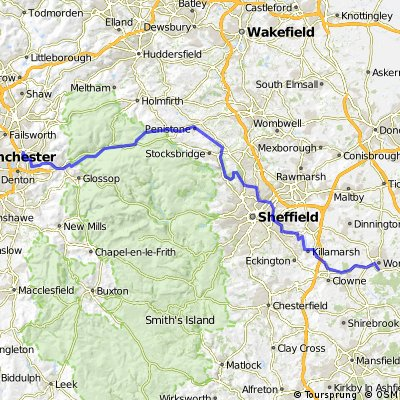 Home to Worksop via National Cccle Routes