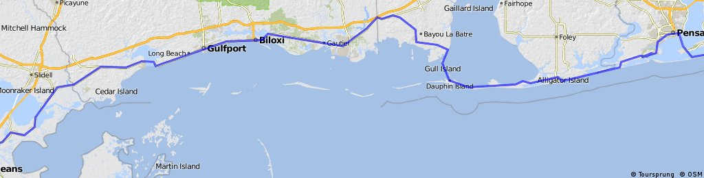 New Orleans to Pensacola | Bikemap - Your bike routes