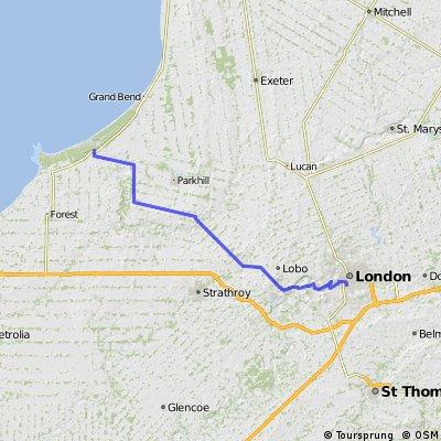 London, Ontario to Pinery Provincial Park