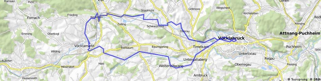Bikemap.net-Vöcklabruck-Timelkam-Fischhamering-Bahnhof Redl Zipf-Schweiber-Waschprechtingerberg-Hörading-Witzling-Weiterschwang-Obergallaberg-Oberthalheim-Vöcklabruck