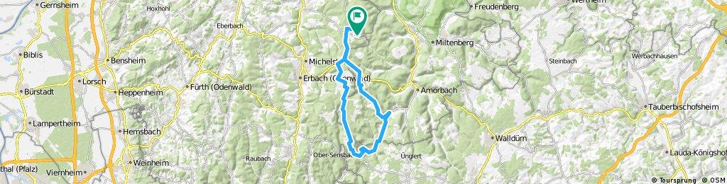 Vielbrunn - Würzberg - Hesselbach - Kastell Zwing - Schloß Waldleiningen - Breitenbach - Dörnbach - Breitenbuch - Watterbach - Boxbrunn - Eulbach