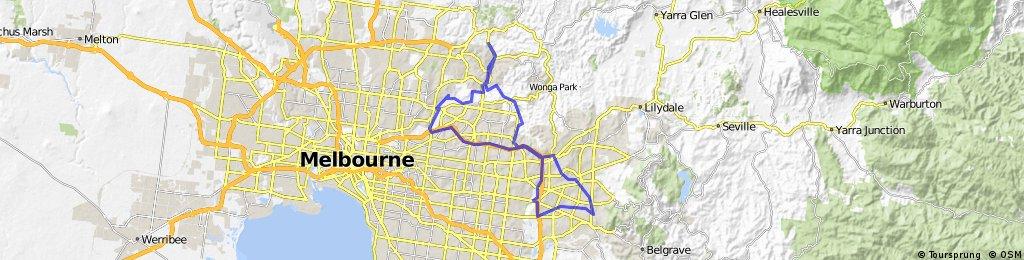 Diamond, Yarra, Koonung, Eastlink, Blind Creek, Belgrave Rail Trail & return